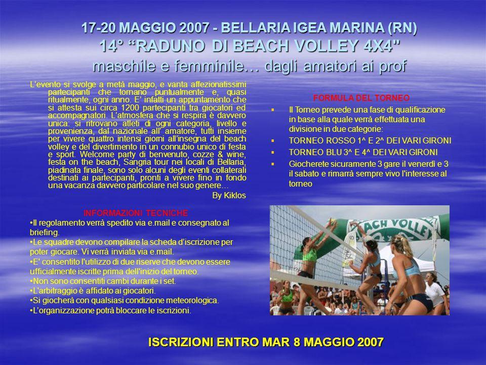 17-20 MAGGIO 2007 - BELLARIA IGEA MARINA (RN) 14° RADUNO DI BEACH VOLLEY 4X4