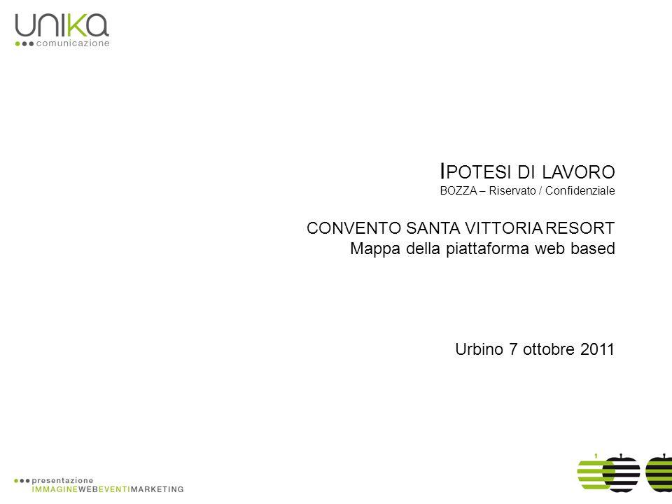 I POTESI DI LAVORO BOZZA – Riservato / Confidenziale CONVENTO SANTA VITTORIA RESORT Mappa della piattaforma web based Urbino 7 ottobre 2011