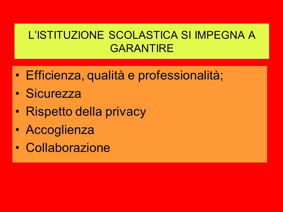 LISTITUZIONE SCOLASTICA SI IMPEGNA A GARANTIRE Efficienza, qualità e professionalità; Sicurezza Rispetto della privacy Accoglienza Collaborazione