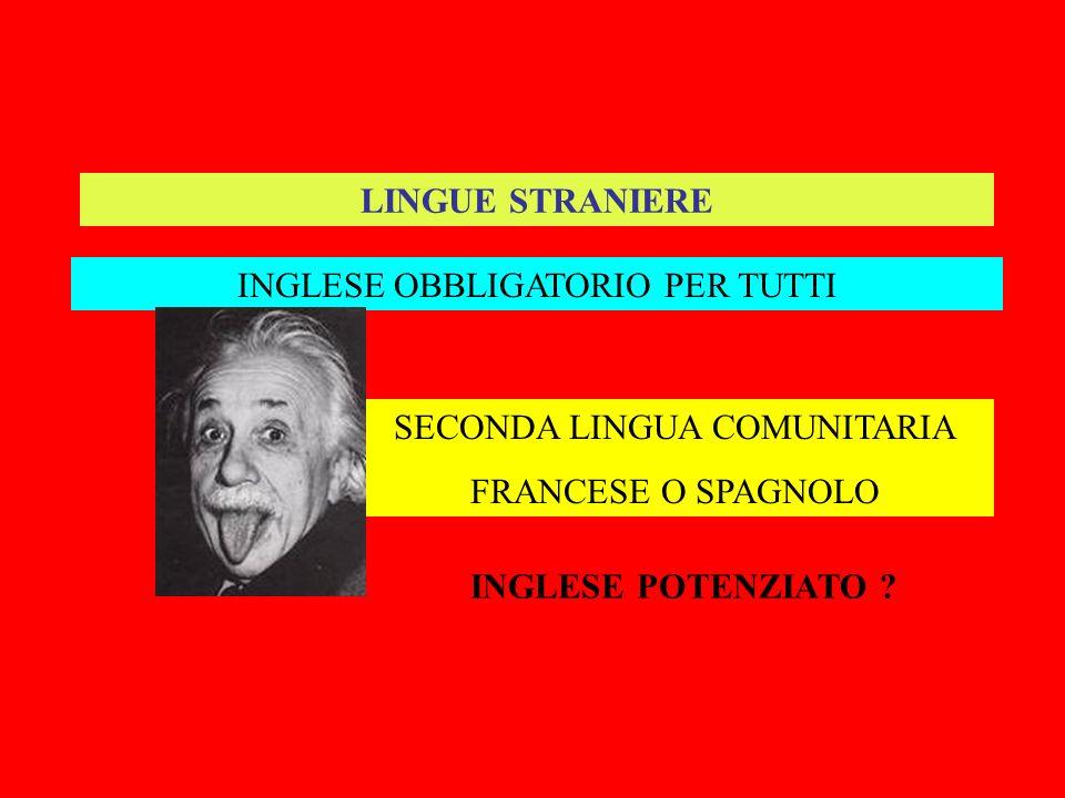 LINGUE STRANIERE INGLESE OBBLIGATORIO PER TUTTI SECONDA LINGUA COMUNITARIA FRANCESE O SPAGNOLO INGLESE POTENZIATO ?
