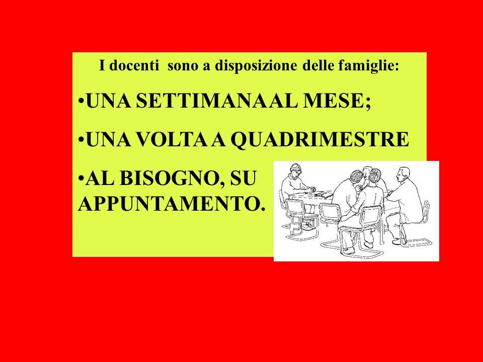 I docenti sono a disposizione delle famiglie: UNA SETTIMANA AL MESE; UNA VOLTA A QUADRIMESTRE AL BISOGNO, SU APPUNTAMENTO.