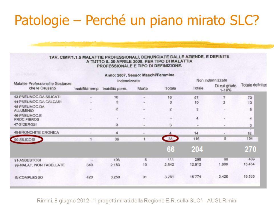 Rimini, 8 giugno 2012 - I progetti mirati della Regione E.R. sulla SLC – AUSL Rimini Patologie – Perché un piano mirato SLC?