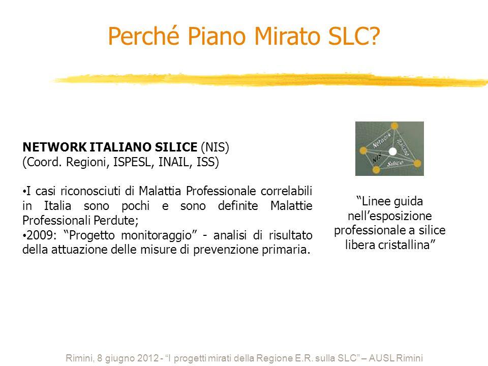 NETWORK ITALIANO SILICE (NIS) (Coord. Regioni, ISPESL, INAIL, ISS) I casi riconosciuti di Malattia Professionale correlabili in Italia sono pochi e so