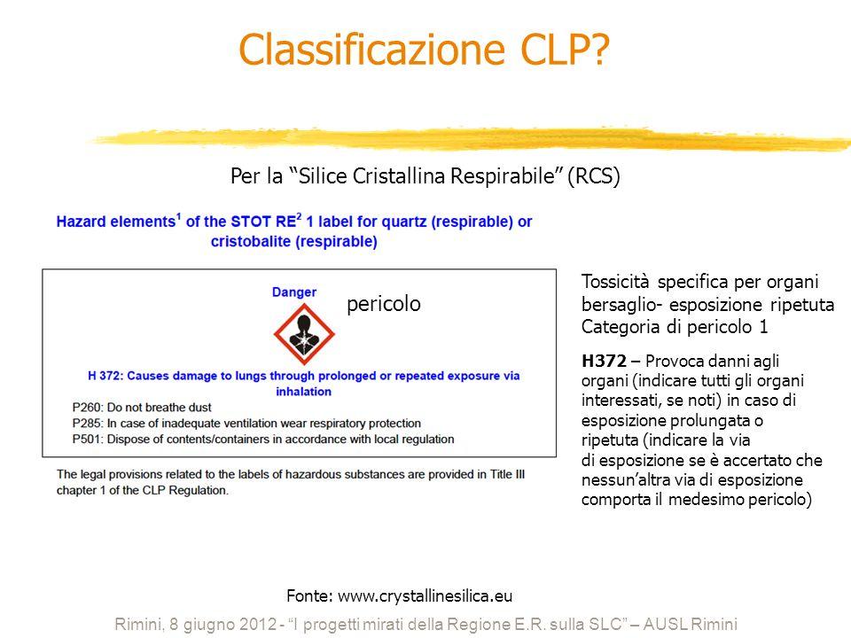 Per la Silice Cristallina Respirabile (RCS) Tossicità specifica per organi bersaglio- esposizione ripetuta Categoria di pericolo 1 pericolo Rimini, 8
