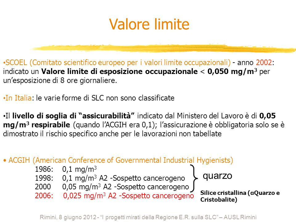 SCOEL (Comitato scientifico europeo per i valori limite occupazionali) - anno 2002: indicato un Valore limite di esposizione occupazionale < 0,050 mg/m 3 per unesposizione di 8 ore giornaliere.