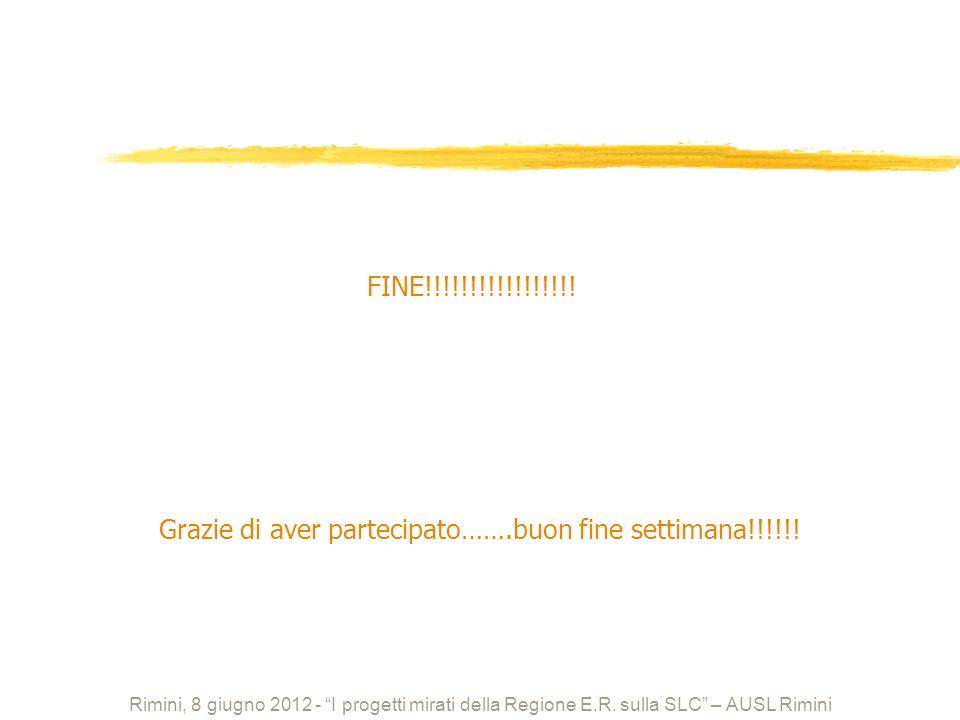 FINE!!!!!!!!!!!!!!!!! Grazie di aver partecipato…….buon fine settimana!!!!!! Rimini, 8 giugno 2012 - I progetti mirati della Regione E.R. sulla SLC –