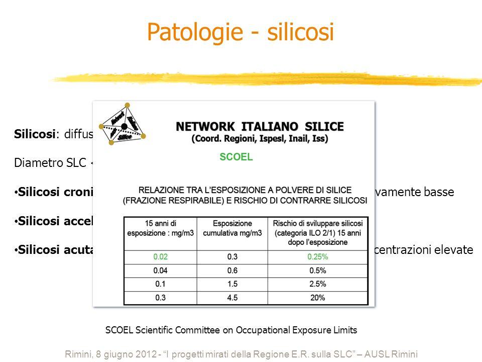 Silicosi: diffusa fibrosi nodulare del polmone Diametro SLC < 10 μm Silicosi cronica: tempo di latenza 10 anni: concentrazioni relativamente basse Sil