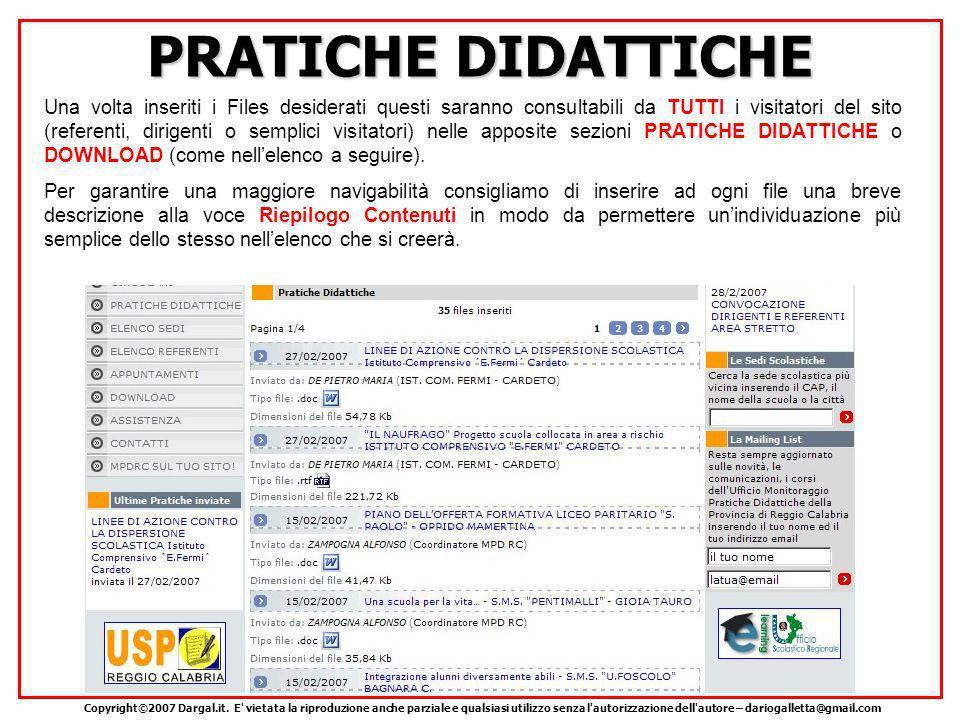 PRATICHE DIDATTICHE Copyright©2007 Dargal.it.