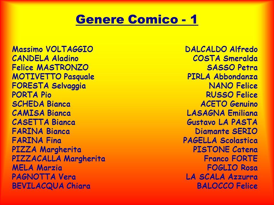 Genere Comico - 1 Massimo VOLTAGGIO CANDELA Aladino Felice MASTRONZO MOTIVETTO Pasquale FORESTA Selvaggia PORTA Pio SCHEDA Bianca CAMISA Bianca CASETT