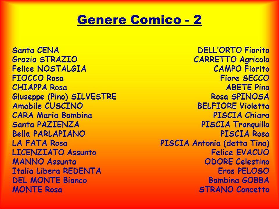 Genere Comico - 2 Santa CENA Grazia STRAZIO Felice NOSTALGIA FIOCCO Rosa CHIAPPA Rosa Giuseppe (Pino) SILVESTRE Amabile CUSCINO CARA Maria Bambina San