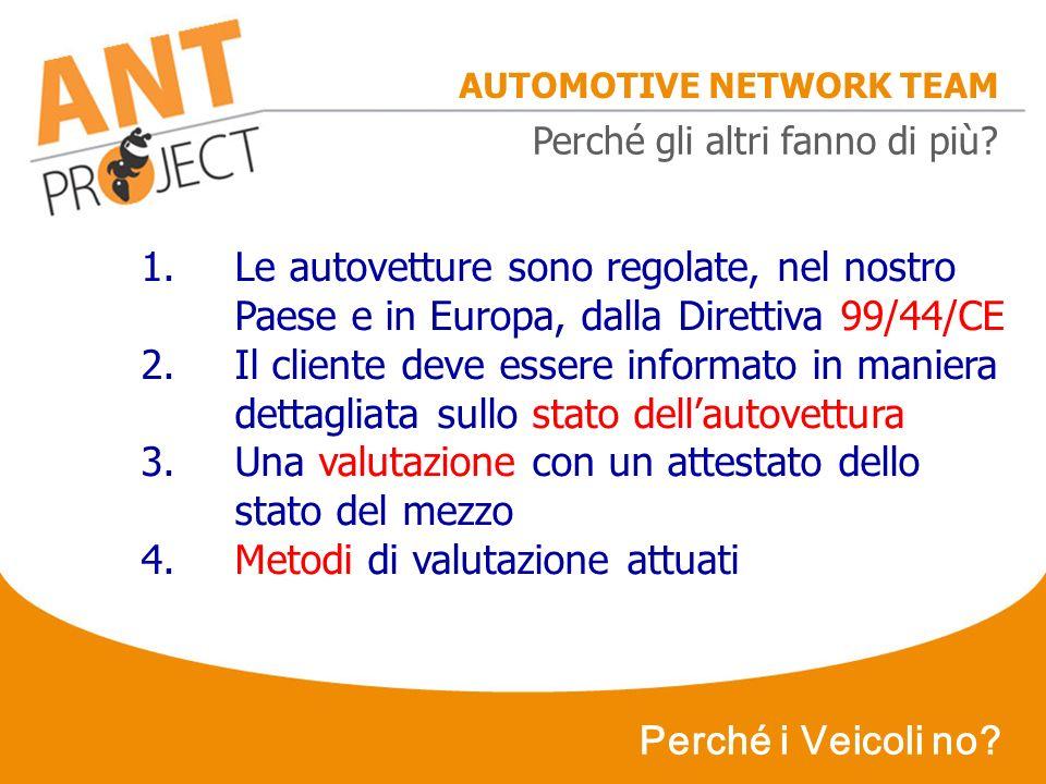 AUTOMOTIVE NETWORK TEAM Perché i Veicoli no? 1.Le autovetture sono regolate, nel nostro Paese e in Europa, dalla Direttiva 99/44/CE 2.Il cliente deve
