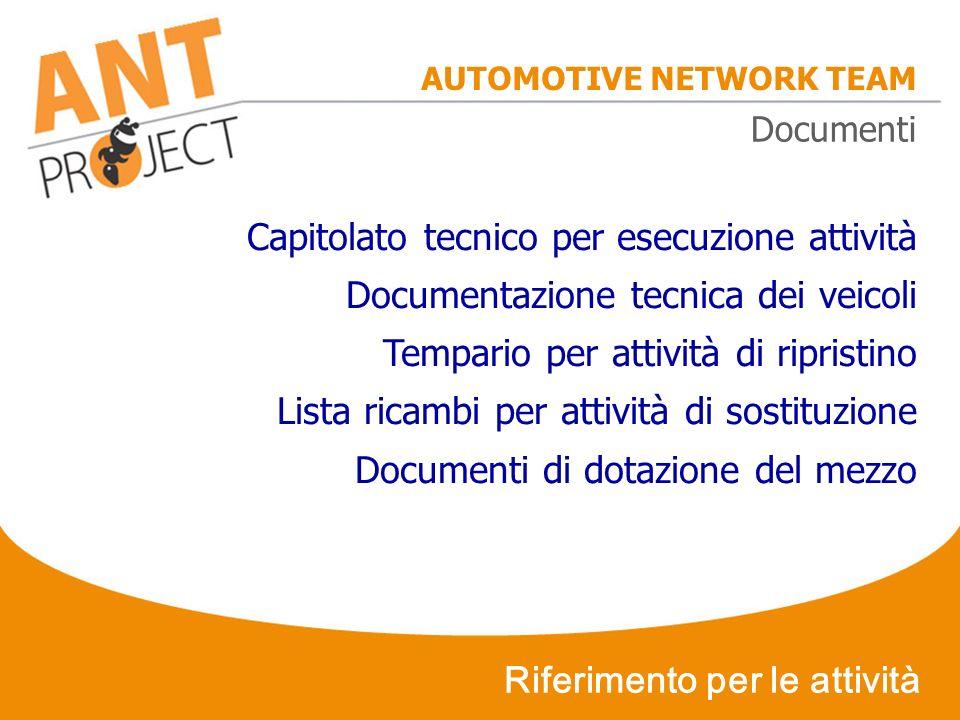 AUTOMOTIVE NETWORK TEAM Riferimento per le attività Capitolato tecnico per esecuzione attività Documentazione tecnica dei veicoli Tempario per attivit