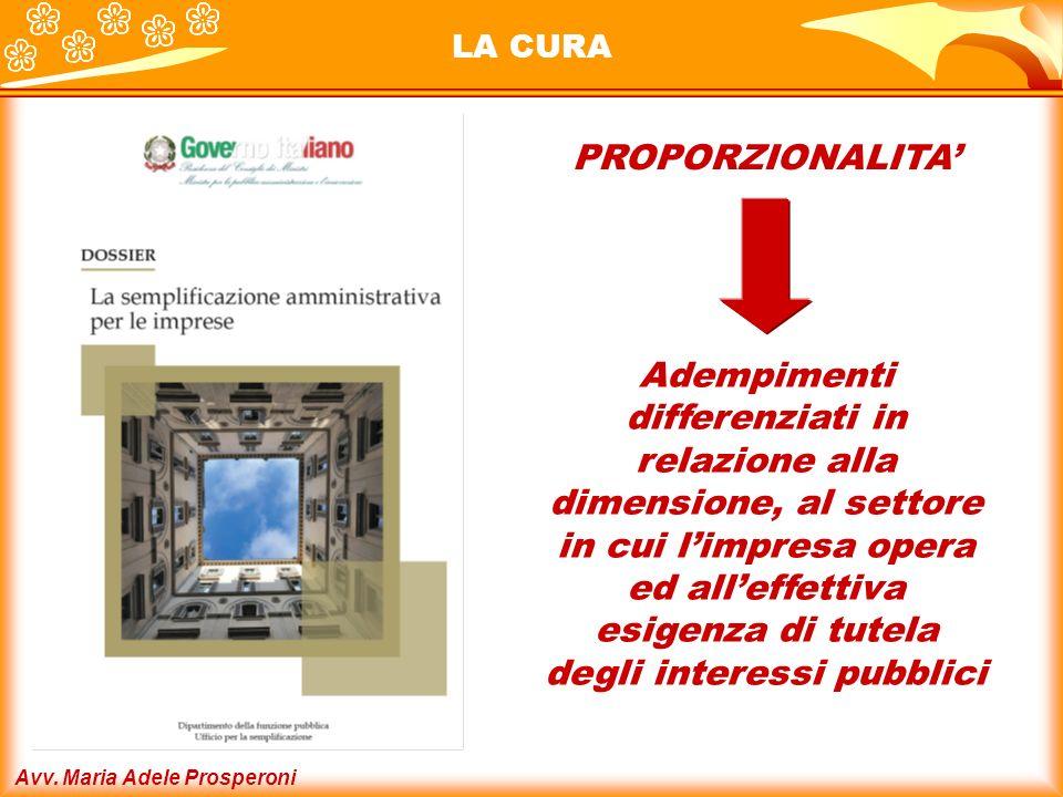 Avv. Maria Adele Prosperoni LA CURA PROPORZIONALITA Adempimenti differenziati in relazione alla dimensione, al settore in cui limpresa opera ed alleff
