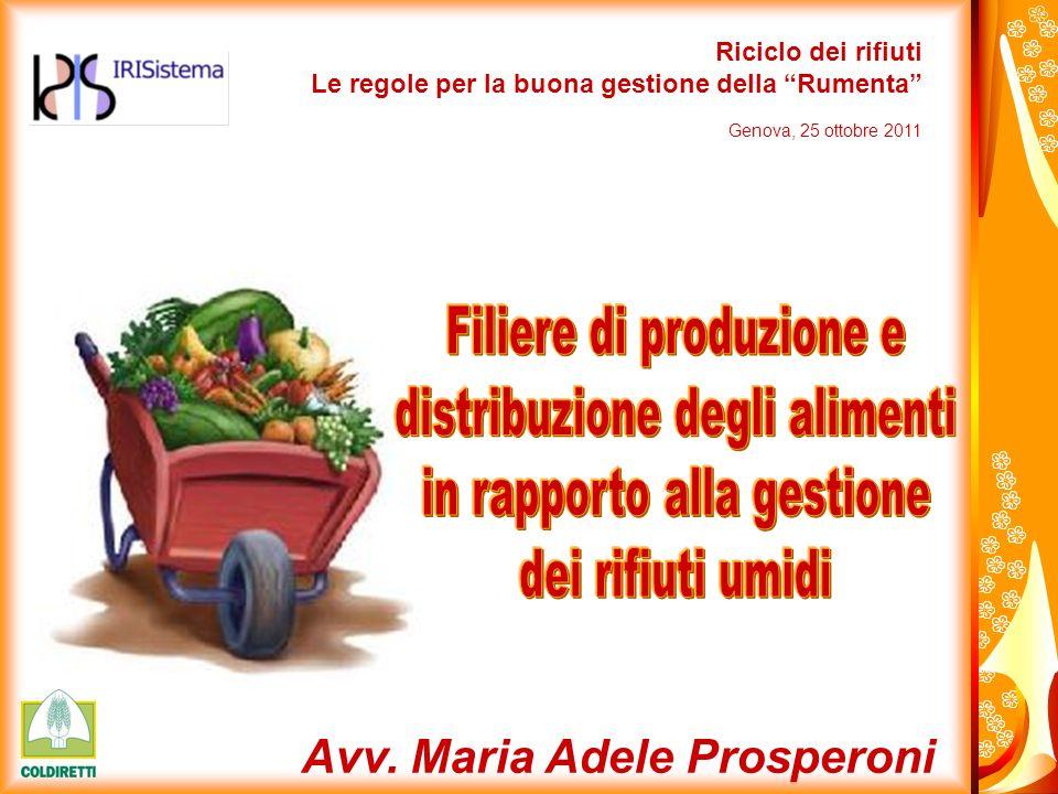 Avv. Maria Adele Prosperoni Riciclo dei rifiuti Le regole per la buona gestione della Rumenta Genova, 25 ottobre 2011