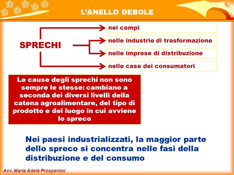 Avv. Maria Adele Prosperoni LANELLO DEBOLE nei campi Nei paesi industrializzati, la maggior parte dello spreco si concentra nelle fasi della distribuz