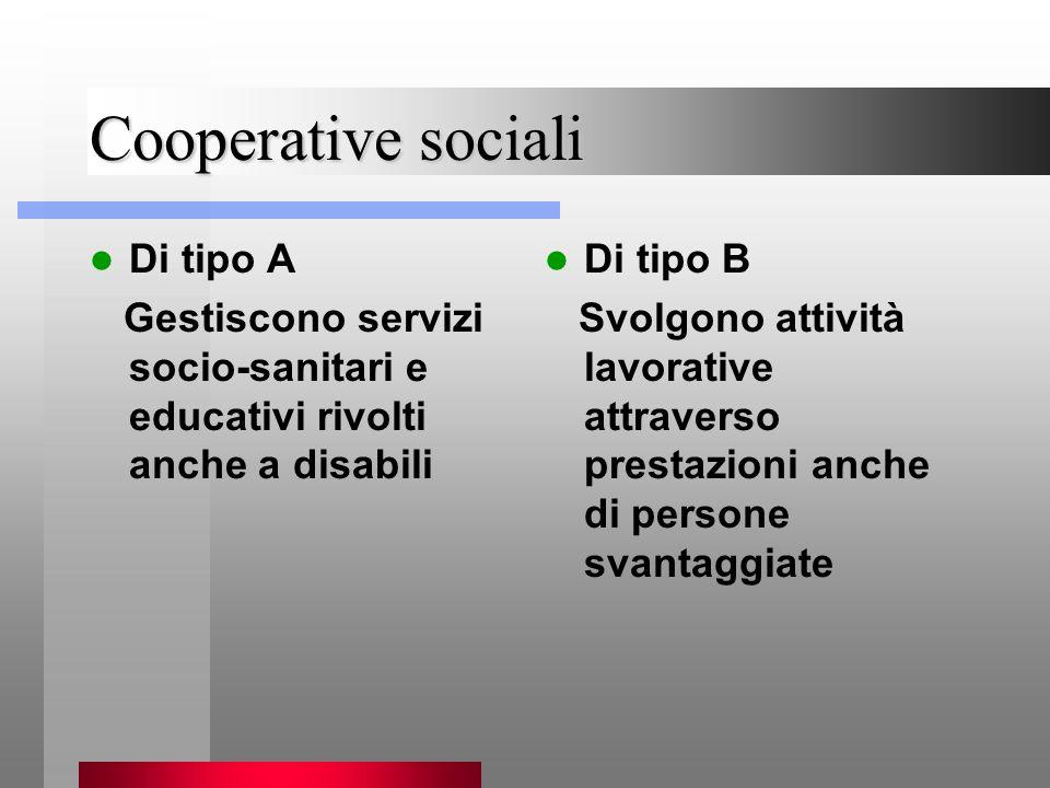 Di tipo A Gestiscono servizi socio-sanitari e educativi rivolti anche a disabili Di tipo B Svolgono attività lavorative attraverso prestazioni anche di persone svantaggiate Cooperative sociali