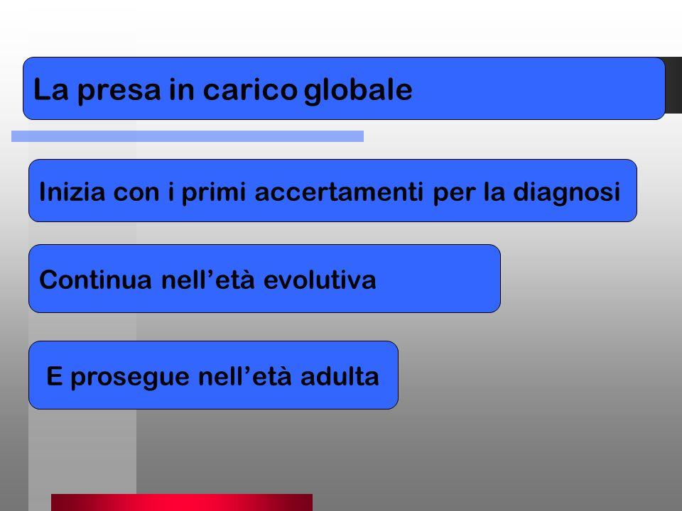 PER La presa in carico globale Inizia con i primi accertamenti per la diagnosi Continua nelletà evolutiva E prosegue nelletà adulta