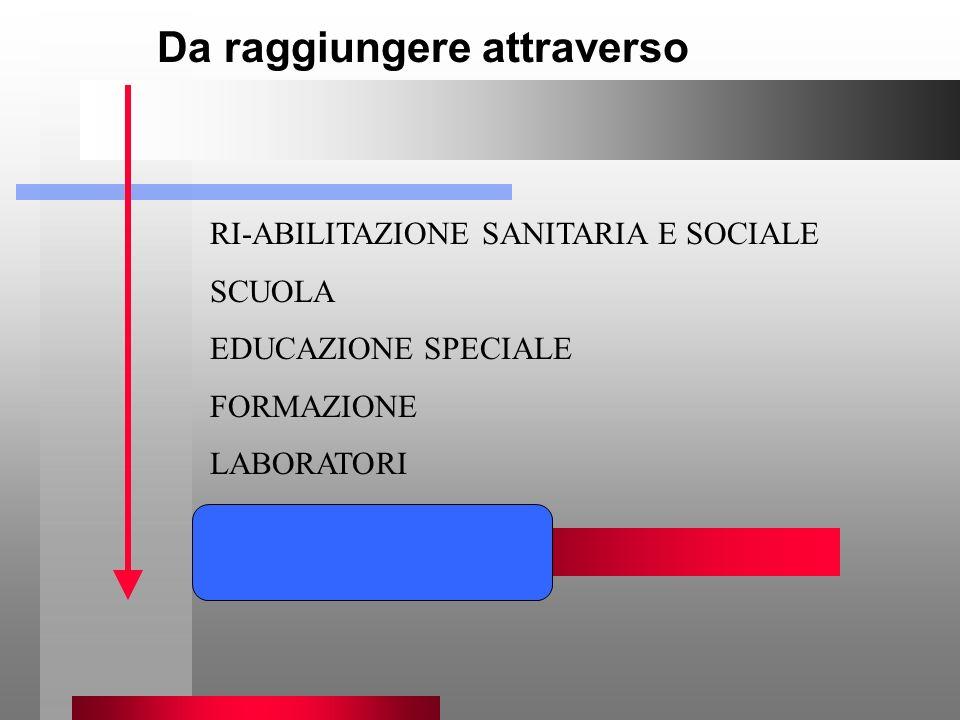 Da raggiungere attraverso RI-ABILITAZIONE SANITARIA E SOCIALE SCUOLA EDUCAZIONE SPECIALE FORMAZIONE LABORATORI