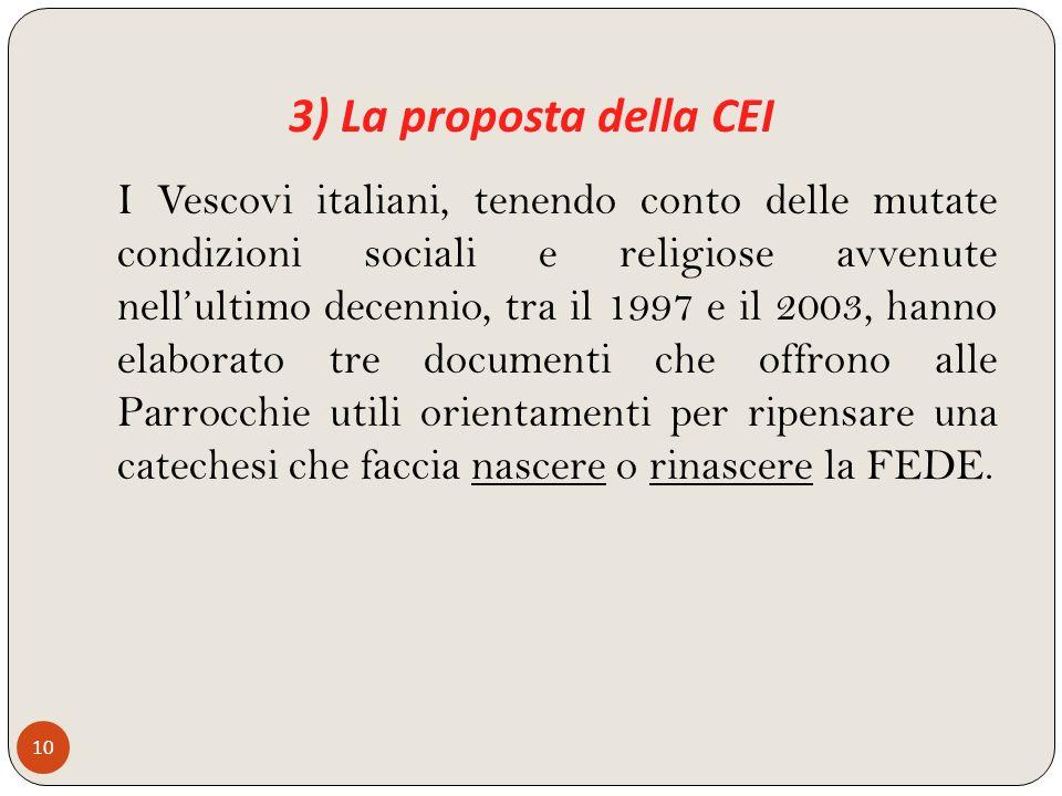 3) La proposta della CEI 10 I Vescovi italiani, tenendo conto delle mutate condizioni sociali e religiose avvenute nellultimo decennio, tra il 1997 e