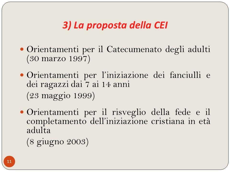 3) La proposta della CEI 11 Orientamenti per il Catecumenato degli adulti (30 marzo 1997) Orientamenti per liniziazione dei fanciulli e dei ragazzi da