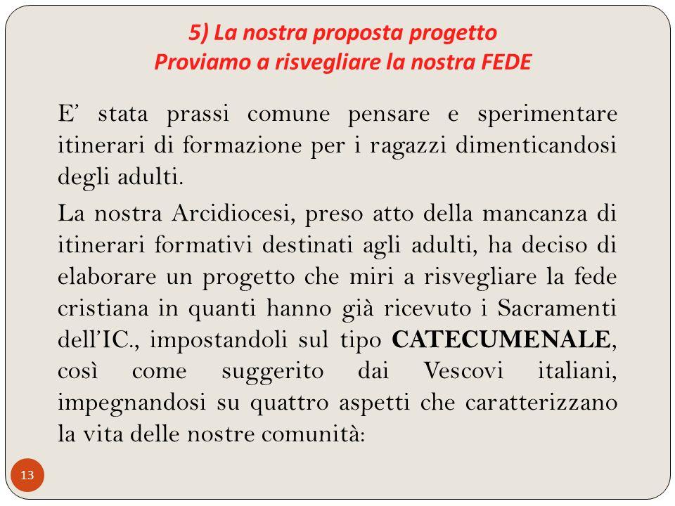 5) La nostra proposta progetto Proviamo a risvegliare la nostra FEDE 13 E stata prassi comune pensare e sperimentare itinerari di formazione per i rag