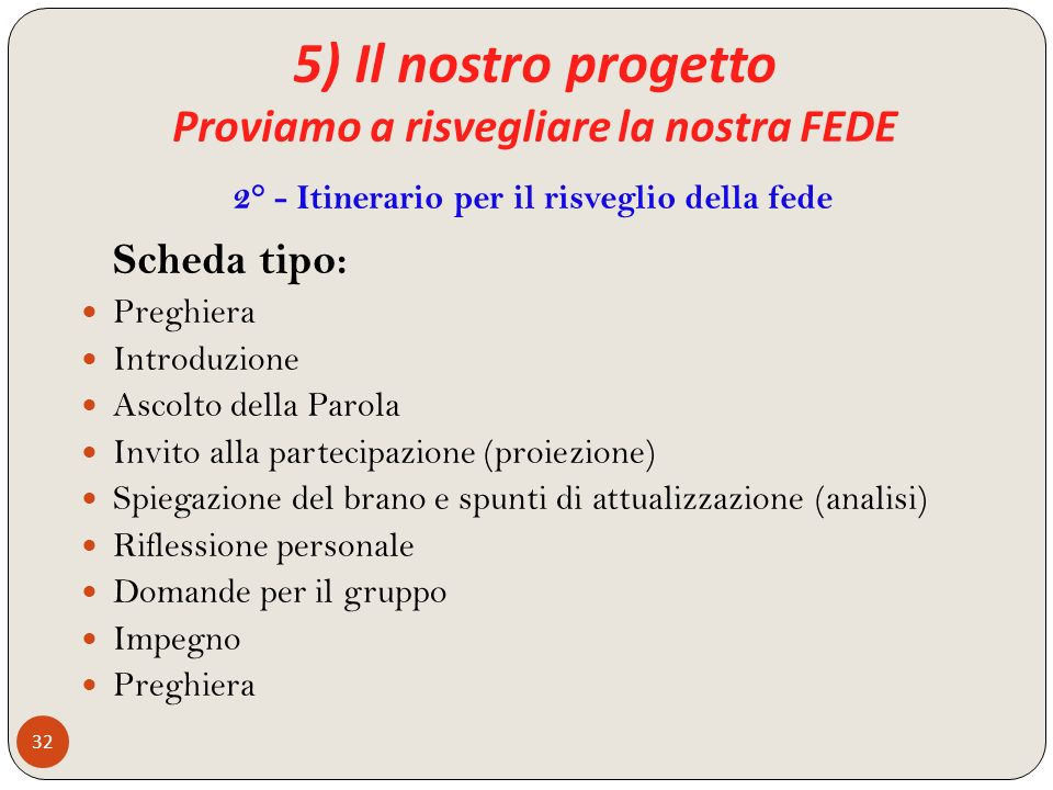 5) Il nostro progetto Proviamo a risvegliare la nostra FEDE 32 Scheda tipo: Preghiera Introduzione Ascolto della Parola Invito alla partecipazione (pr