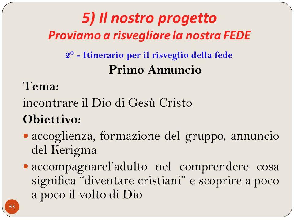 5) Il nostro progetto Proviamo a risvegliare la nostra FEDE 33 Primo Annuncio Tema: incontrare il Dio di Gesù Cristo Obiettivo: accoglienza, formazion