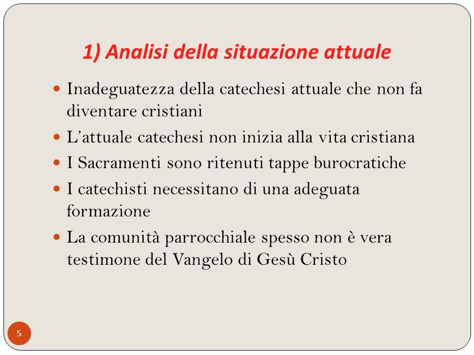 1) Analisi della situazione attuale 5 Inadeguatezza della catechesi attuale che non fa diventare cristiani Lattuale catechesi non inizia alla vita cri