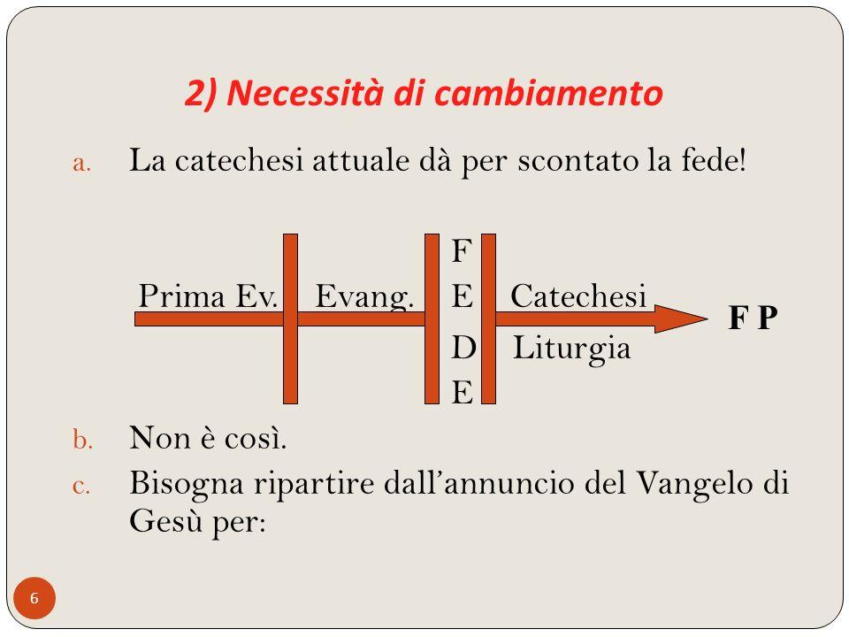 2) Necessità di cambiamento 6 a. La catechesi attuale dà per scontato la fede! F Prima Ev. Evang. E Catechesi D Liturgia E b. Non è così. c. Bisogna r