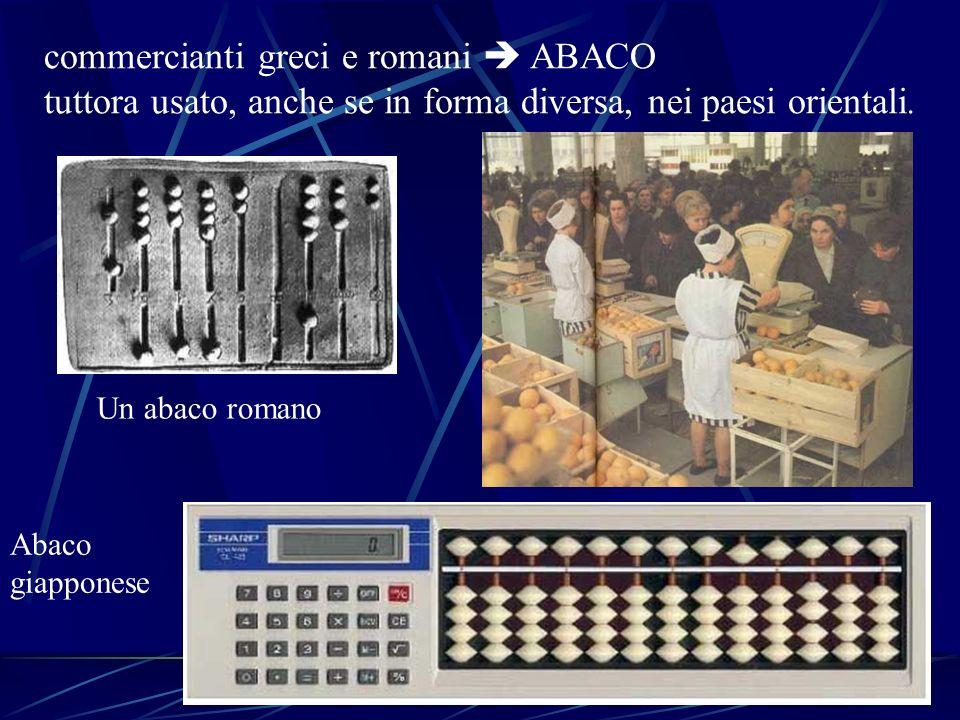 commercianti greci e romani ABACO tuttora usato, anche se in forma diversa, nei paesi orientali. Un abaco romano Abaco giapponese
