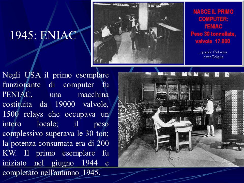 Negli USA il primo esemplare funzionante di computer fu l'ENIAC, una macchina costituita da 19000 valvole, 1500 relays che occupava un intero locale;