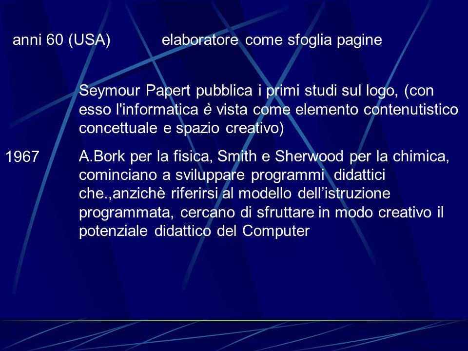 anni 60 (USA) elaboratore come sfoglia pagine 1967 Seymour Papert pubblica i primi studi sul logo, (con esso l'informatica è vista come elemento conte