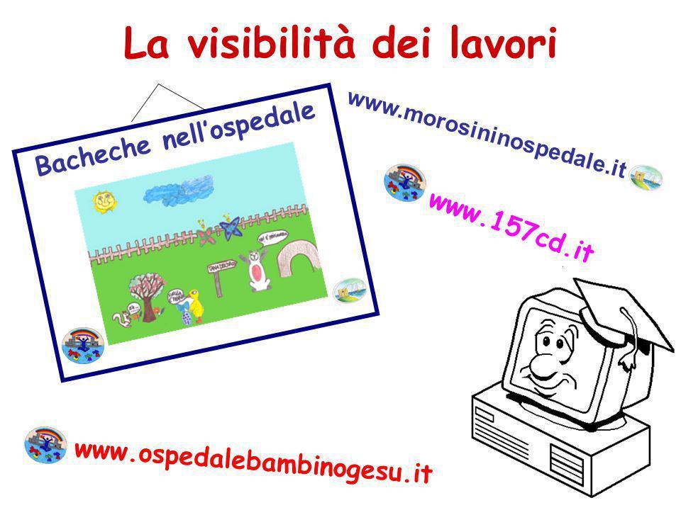La visibilità dei lavori Bacheche nellospedale www.157cd.it www.ospedalebambinogesu.it www.morosininospedale.it