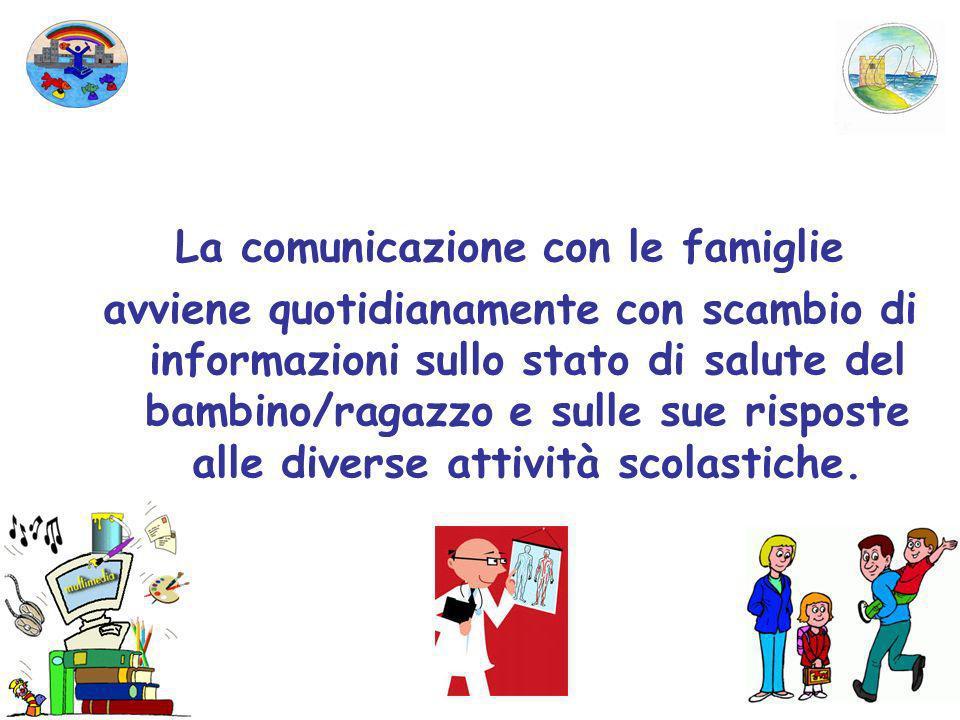 La comunicazione con le famiglie avviene quotidianamente con scambio di informazioni sullo stato di salute del bambino/ragazzo e sulle sue risposte al