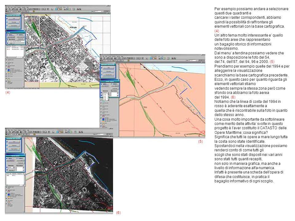 Per esempio possiamo andare a selezionare questi due quadranti e caricare i raster corrispondenti, abbiamo quindi la possibilità di raffrontare gli elementi vettoriali con la base cartografica.