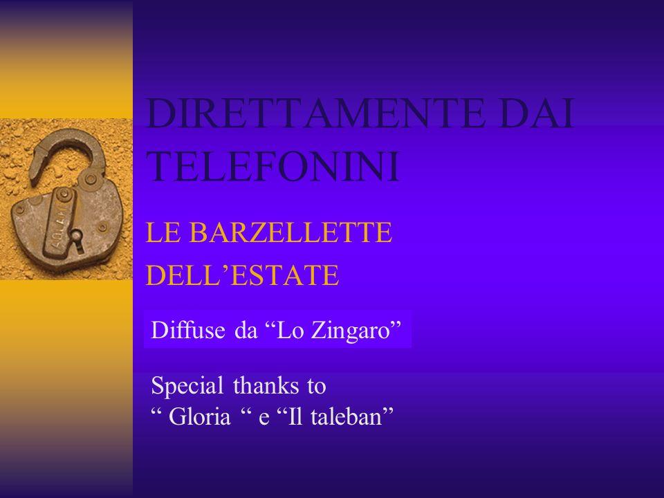 DIRETTAMENTE DAI TELEFONINI LE BARZELLETTE DELLESTATE Diffuse da Lo Zingaro Special thanks to Gloria e Il taleban