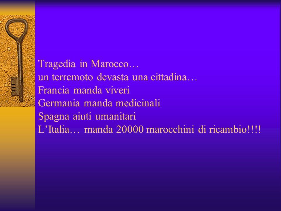 Tragedia in Marocco… un terremoto devasta una cittadina… Francia manda viveri Germania manda medicinali Spagna aiuti umanitari LItalia… manda 20000 marocchini di ricambio!!!!