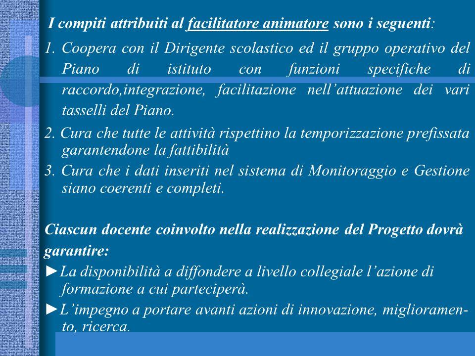 I compiti attribuiti al facilitatore animatore sono i seguenti: 1.