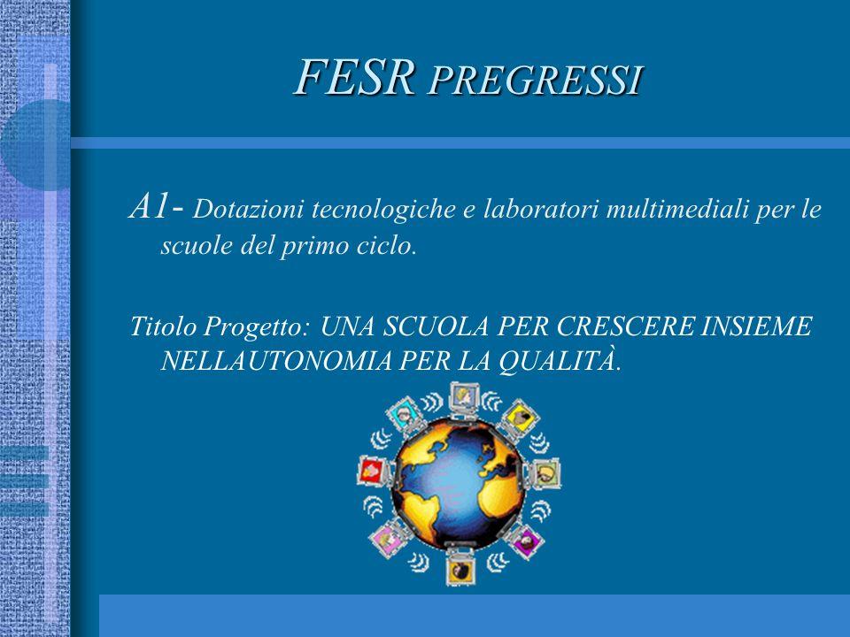 FESR PREGRESSI A1- Dotazioni tecnologiche e laboratori multimediali per le scuole del primo ciclo.