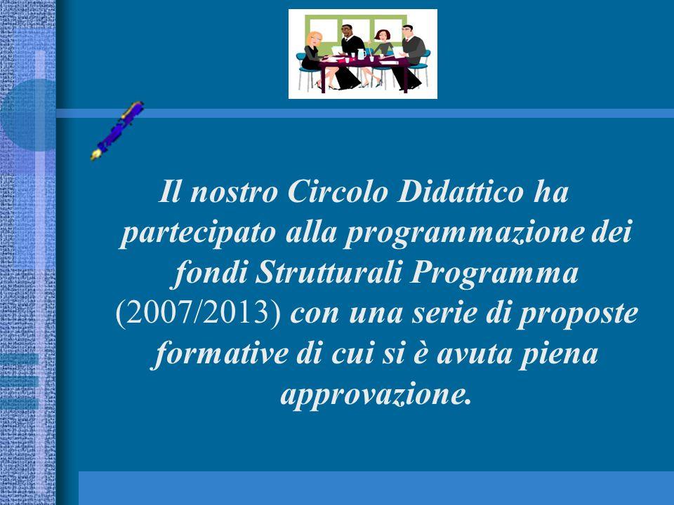 Il nostro Circolo Didattico ha partecipato alla programmazione dei fondi Strutturali Programma (2007/2013) con una serie di proposte formative di cui si è avuta piena approvazione.