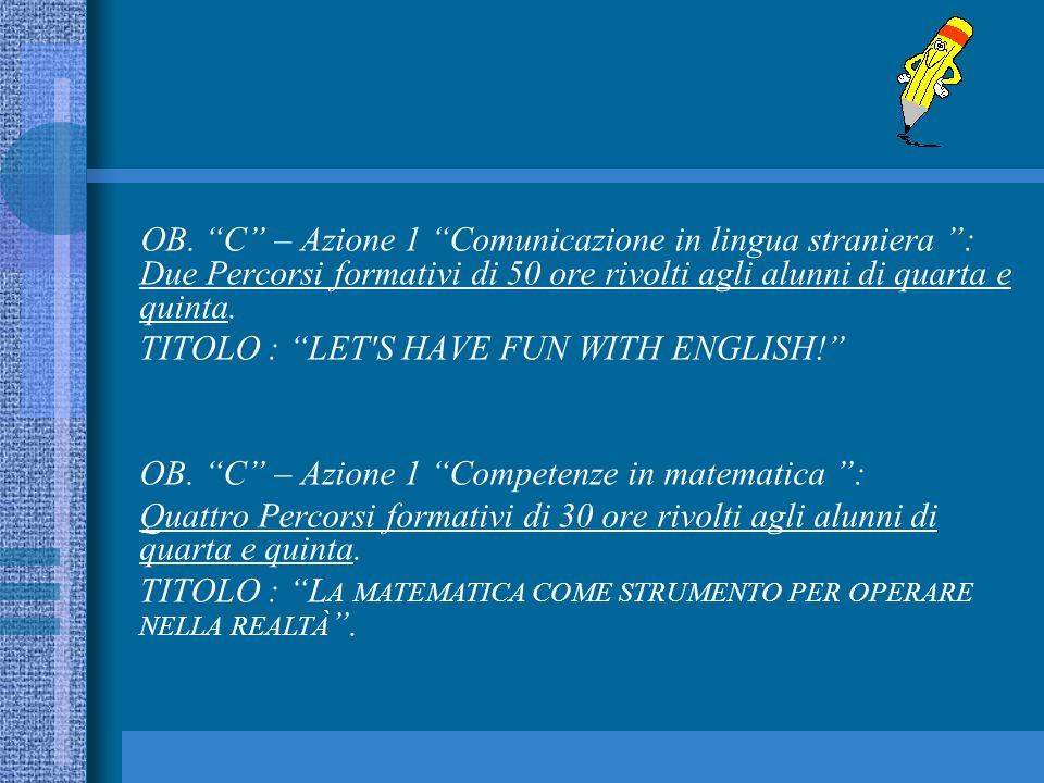 OB. C – Azione 1 Comunicazione in lingua straniera : Due Percorsi formativi di 50 ore rivolti agli alunni di quarta e quinta. TITOLO : LET'S HAVE FUN