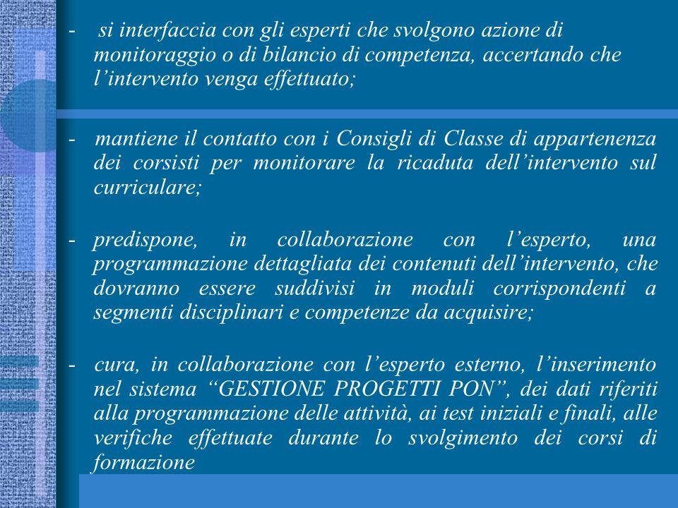 Per la completa realizzazione del Piano Integrato degli interventi FSE sono previste altre 2 figure professionali: il referente per la valutazione, il facilitatore animatore.