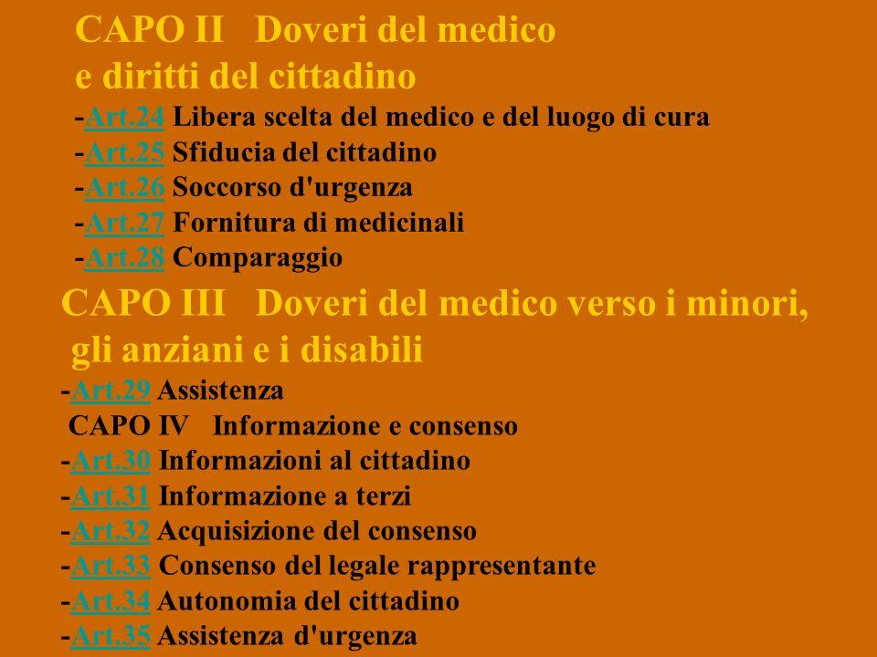 CAPO II Doveri del medico e diritti del cittadino -Art.24 Libera scelta del medico e del luogo di cura -Art.25 Sfiducia del cittadino -Art.26 Soccorso