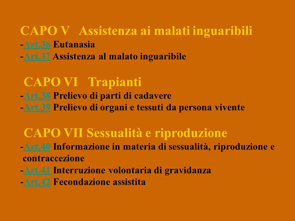 CAPO V Assistenza ai malati inguaribili -Art.36 Eutanasia -Art.37 Assistenza al malato inguaribileArt.36Art.37 CAPO VI Trapianti -Art.38 Prelievo di p