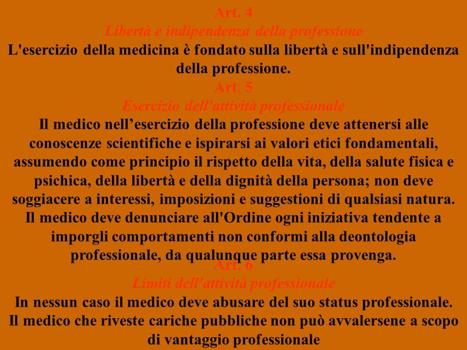 Art. 4 Libertà e indipendenza della professione L'esercizio della medicina è fondato sulla libertà e sull'indipendenza della professione. Art. 5 Eserc