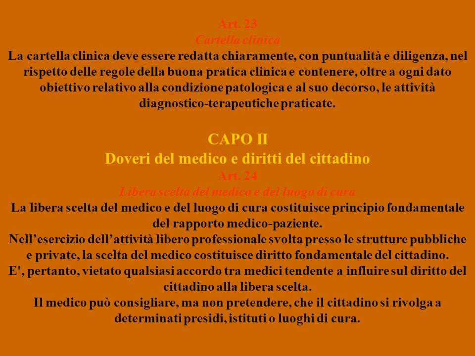 Art. 23 Cartella clinica La cartella clinica deve essere redatta chiaramente, con puntualità e diligenza, nel rispetto delle regole della buona pratic