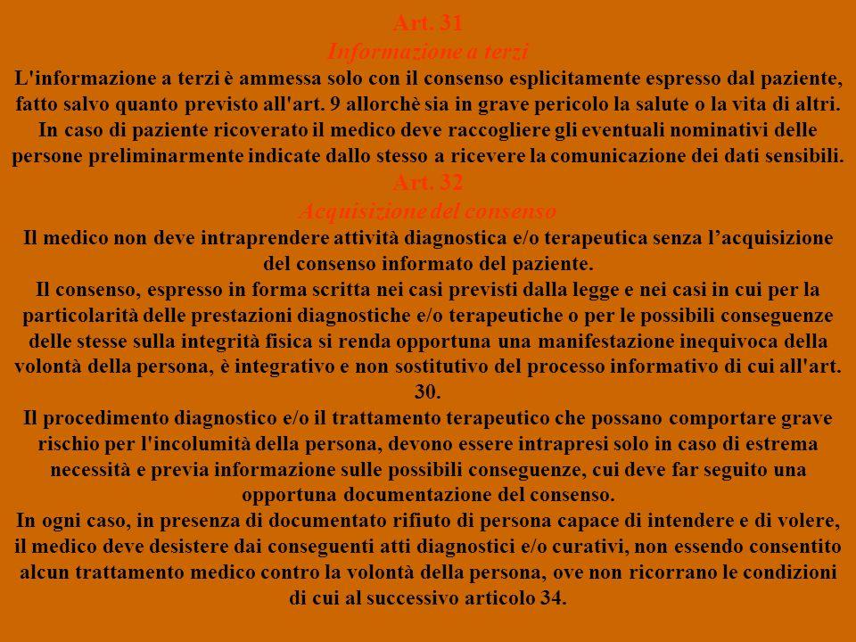 Art. 31 Informazione a terzi L'informazione a terzi è ammessa solo con il consenso esplicitamente espresso dal paziente, fatto salvo quanto previsto a