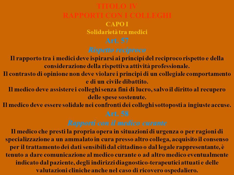 TITOLO IV RAPPORTI CON I COLLEGHI CAPO I Solidarietà tra medici Art. 57 Rispetto reciproco Il rapporto tra i medici deve ispirarsi ai principi del rec