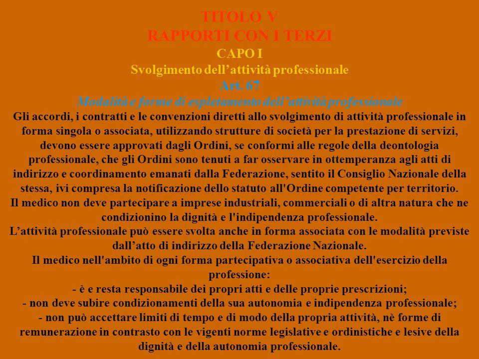 TITOLO V RAPPORTI CON I TERZI CAPO I Svolgimento dellattività professionale Art. 67 Modalità e forme di espletamento dellattività professionale Gli ac