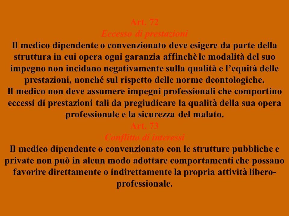 Art. 72 Eccesso di prestazioni Il medico dipendente o convenzionato deve esigere da parte della struttura in cui opera ogni garanzia affinchè le modal